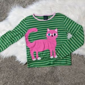 Mini Boden | green striped cat shirt